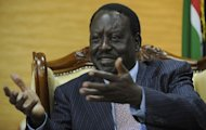 <p>Kenya's Prime Minister and presidential candidate Raila Odinga gives an interview to AFP on January 14, 2013. Odinga expressed his gratitude towards France for its military intervention against Islamist extremists in Mali.</p>