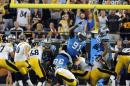 Pittsburgh Steelers' Shaun Suisham (6) kicks a field goal against the Carolina Panthers during the first half of an NFL football game in Charlotte, N.C., Sunday, Sept. 21, 2014. (AP Photo/Mike McCarn)