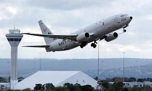 File photo of U.S. Navy P-8 Poseidon aircraft taking off from Perth International Airport