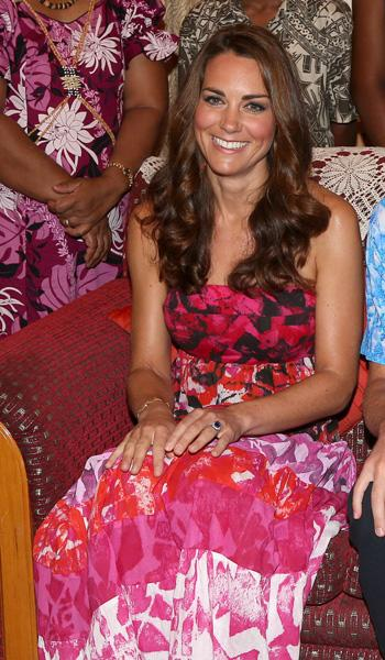 Catherine, Duchess of Cambridge poses in traditional Island clothing during a visit to the Governor General's House during their Diamond Jubilee tour of the Far East on September 16, 2012 in Honiara,