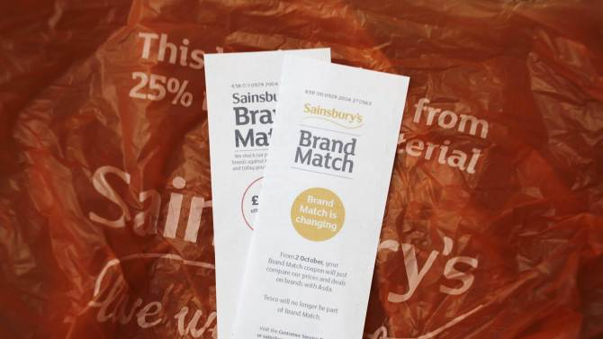 Sainsburys Brand Match coupons are shown in London