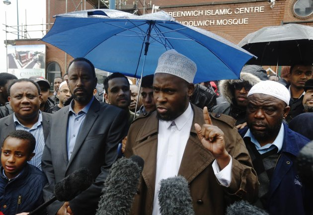 Swaleh Ahmed, the imam of Woolwich Mosque, makes a statement after the murder of Drummer Lee Rigby the British Army in Woolwich