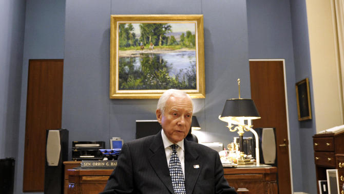 In this Thursday, June 28, 2012 photo, Sen. Orrin Hatch, R-Utah, talks with The Associated Press at his office on Capitol Hill in Washington. With his re-election to a seventh term all but assured, Utah Sen. Orrin Hatch can think about his legacy. He's very clear about what he wants: a deal that restructures the tax code while also slowing and even stopping the government's accumulation of debt. To get it, he says he'll practice the art of compromise. (AP Photo/Cliff Owen)