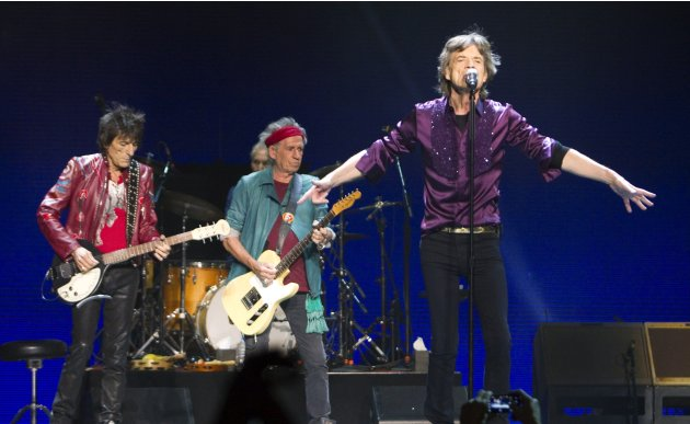 Mick Jagger, Keith Richards and Ron Wood of the Rolling Stones perform during The Rolling Stones 50 and Counting tour at the Air Canada Centre in Toronto