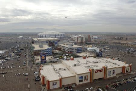 An aerial photo shows Westgate Entertainment District, the University of Phoenix stadium and the Gila River Arena in Glendale Arizona