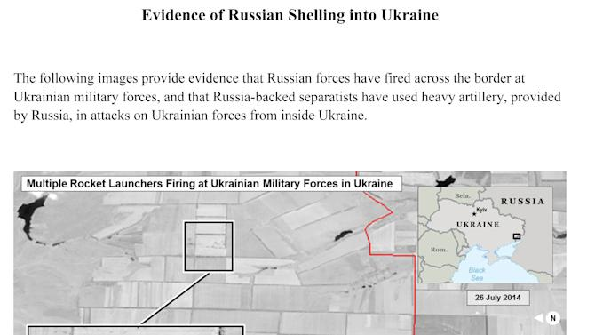 This first page of a four page document released by the U.S. State Department in Washington, July 27, 2014 shows a satellite image that purports to shows ground scarring at a multiple rocket launch site on the Russian side of the border oriented in the direction of Ukraine military unites within Ukraine. The United States says the images back up its claims that rockets have been fired from Russia into eastern Ukraine and heavy artillery for separatists has also crossed the border. (AP Photo/U.S. State Department)