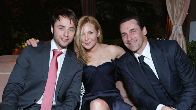 Vincent Kartheiser, Jennifer Westfeldt and Jon Hamm at the AMC Season 6 Premiere of Mad Men , on Wednesday, March, 20, 2013 in Los Angeles. (Photo by Alexandra Wyman/Invision for AMC/AP Images)