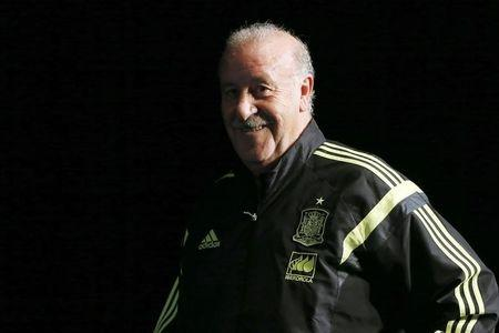Spain's national soccer team coach del Bosque attends a news conference at the Stade de France stadium in Saint-Denis