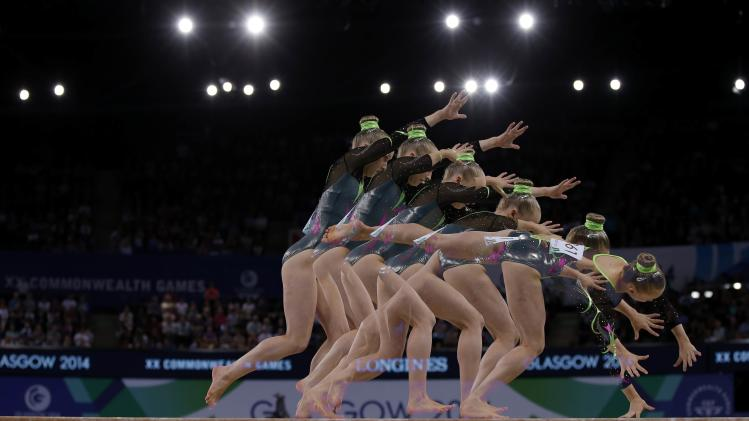 Hockenhull of Wales performs on the beam during the women's gymnastics team final at the 2014 Commonwealth Games in Glasgow