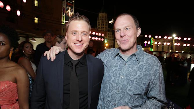 Alan Tudyk and Director and screenplay writer Brian Helgeland at The Los Angeles Premiere of Warner Bros. Pictures' and Legendary Pictures' 42, on Tuesday, April, 9th, 2013 in Los Angeles. (Photo by Eric Charbonneau/Invision for Warner Bros./AP Images)