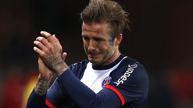 David Beckham is in tears as he is subbed off in his final football match, where Paris Saint-Germain beat Brest (Reuters)