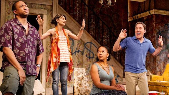 "In this theater publicity image released by O+M Co., from left, Damon Gupton, Annie Parisse, Crystal A. Dickinson, and Jeremy Shamos are shown in a scene from ""Clybourne Park,"" at the Walter Kerr Theatre, in New York. (AP Photo/The O+M Co., Nathan Johnson Photography)"