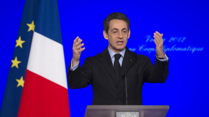 France's President Nicolas Sarkozy delivers a speech to present his New Year wishes to the foreign diplomatic corps at the Elysee Palace in Paris, Friday, Jan. 20, 2012. France is suspending its training operations in Afghanistan and threatening to withdraw its entire force from the country early, after an Afghan soldier shot and killed four French troops Friday and wounded several others. (AP Photo/Charles Platiau, pool)
