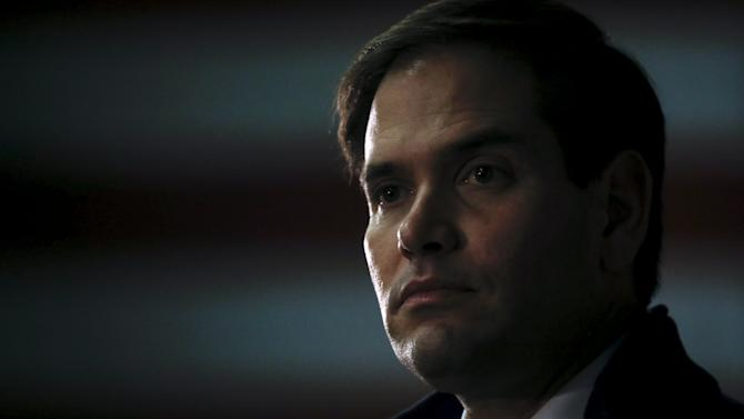 Republican presidential candidate Marco Rubio speaks at a campaign event  in Manchester, New Hampshire
