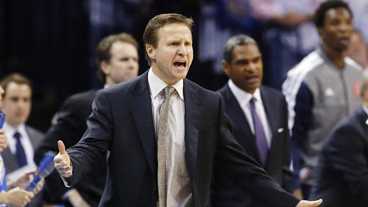 Oklahoma City Thunder head coach Scott Brooks gestures during the fourth quarter of Game 2 in their first-round NBA basketball playoff series against the Houston Rockets in Oklahoma City, Wednesday, April 24, 2013. Oklahoma City won 105-102. (AP Photo/Sue Ogrocki)