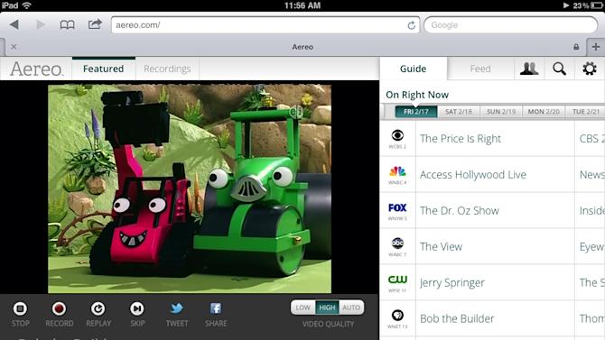 FILE- This file image provided by Aereo shows a screenshot from the iPad showing Aereo.com streaming 'Bob the Builder' on New York's PBS station, WNET 13. Aereo, the startup that offers television stations over the Internet starting at $8 a month, said it will start service in the Atlanta market on June 17, following an expansion to Boston on Wednesday, May 15, 2013. (AP Photo/Aereo)