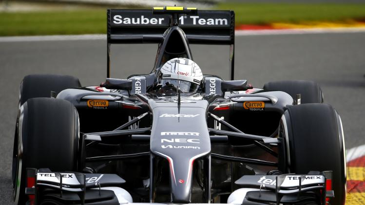Sauber Ferrari Formula One driver Sutil of Germany drives during the first practice session at the Belgian F1 Grand Prix in Spa-Francorchamps