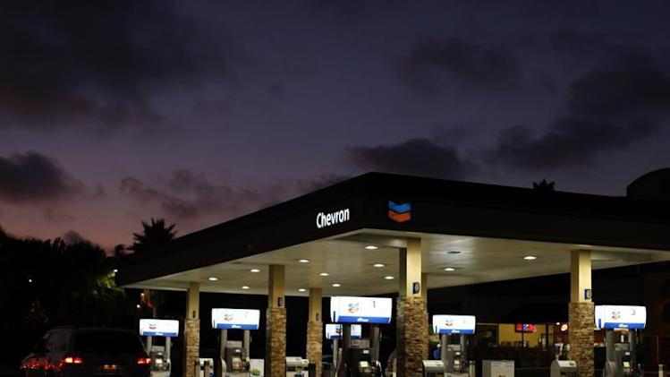 A Chevron gas station is pictured in Encinitas, California