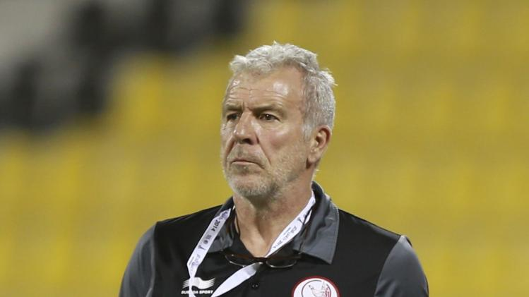 Lekhwiya's head coach Lambertus reacts after wining their Qatar Cup semi-final soccer match against Al-Sailiya in Doha