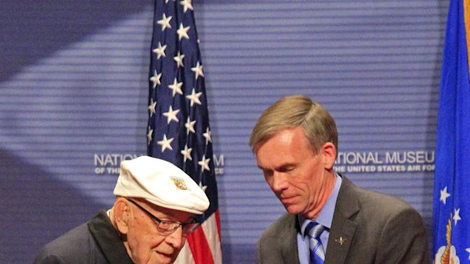 Lt. Col Richard Cole, one of the last two surviving members of the Doolittle raid, presents Congressional Gold Medal to the National Museum of the U.S. Air Force