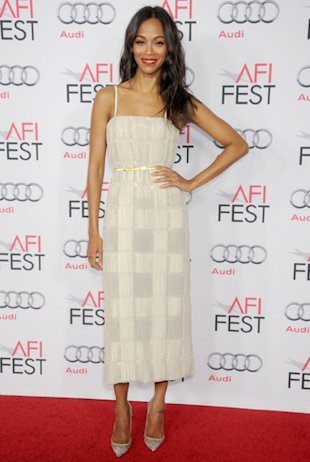Zoë Saldana in Calvin Klein at a screening of Out of the Furnace