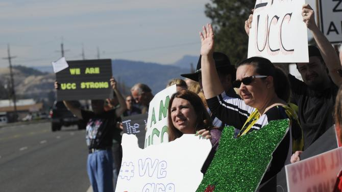 Supporters line the street outside the Church on the Rise as people arrive at the funeral service of Umpqua Community College student Jason Johnson in Roseburg Oregon