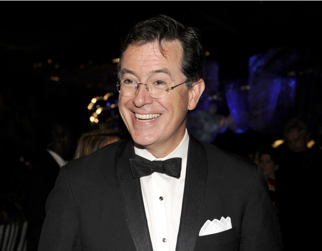 FILE - This Sept. 18, 2011 file photo shows Stephen Colbert at the 63rd Primetime Emmy Awards Governors Ball in Los Angeles. Colbert is hosting another music extravaganza, and this time, he's got miss