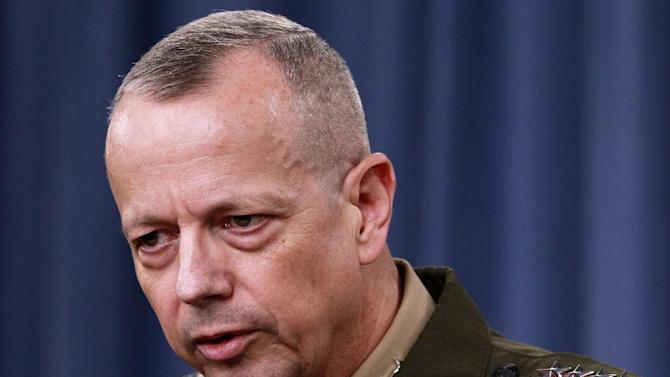 FILE - In this March 26, 2012 file photo, Marine Gen. John Allen speaks during a news conference at the Pentagon. President Barack Obama says he has accepted Allen's request to retire from military. (AP Photo/Haraz N. Ghanbari, File)