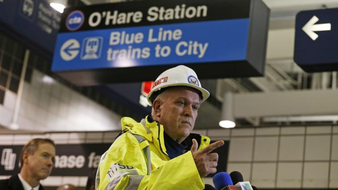 National Transportation Safety Board Railroad Accident Investigator DePaepe speaks at a press briefing about a Chicago Transit Authority subway train that derailed at O'Hare International Airport in Chicago