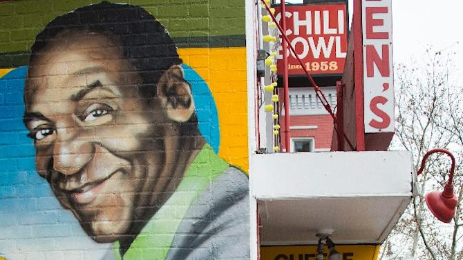 A mural of comedian Bill Cosby painted on the side of Ben's Chili Bowl in Washington, DC