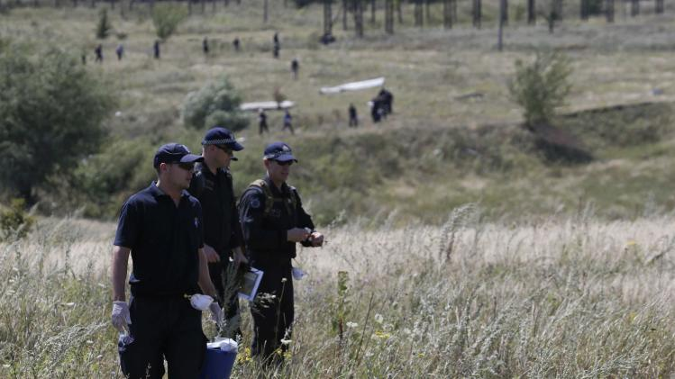 Group of international experts, including members of the Dutch police mission, works at the site where the downed Malaysia airlines flight MH17 crashed in Donetsk region