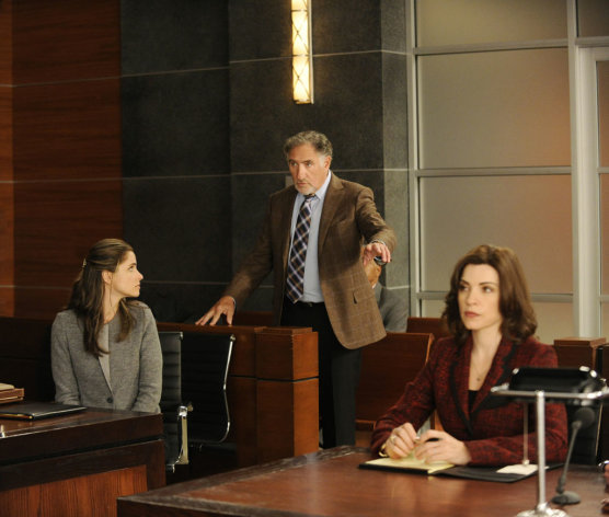 Alicia (Julianna Margulies) and Laura Hellinger (Amanda Peet) argue whether or not Judge Creary (Judd Hirsch) should be removed from hearing a case in &quot;Here Comes the Judge,&quot; the eighth episode of &quot;The Good Wife&quot; Season 4.