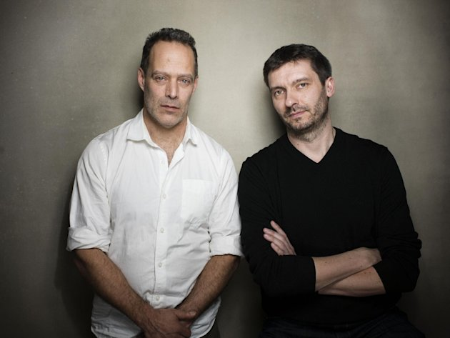 "Director Sebastian Junger, left, and producer James Brabuzon from the film ""Which Way Is Front Line From Here"" pose for a portrait during the 2013 Sundance Film Festival on Sunday, Jan. 20, 2013 in Park City, Utah. (Photo by Victoria Will/Invision/AP Images)"