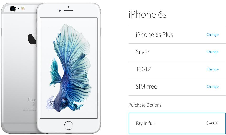 Unlocked iPhone 6s and iPhone 6s Plus now available from the Apple Store
