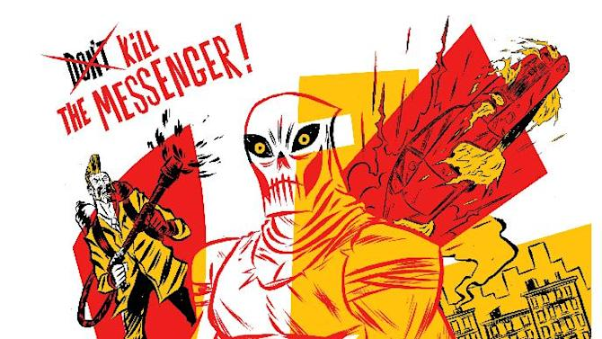 """This comic image released by OFFSET LAB, Inc., shows an issue of """"Deathface.""""  The imprint is making its debut at New York Comic Con this week, touting three offerings _ """"Destroy,"""" """"Doublecross"""" and """"Deathface"""" _ with more on the horizon. Thanks to the proliferation of digital comics as a medium, people _ whether readers, creators, comics fans or other _ no longer have to worry about rules like 22-pages in a comic or a certain number of colors or even the size of a page on which to draw. (AP Photo/OFFSET LAB, Inc)"""