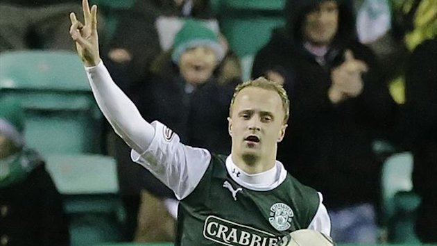 Leigh Griffiths claimed a hat trick as Hibs beat Kilmarnock