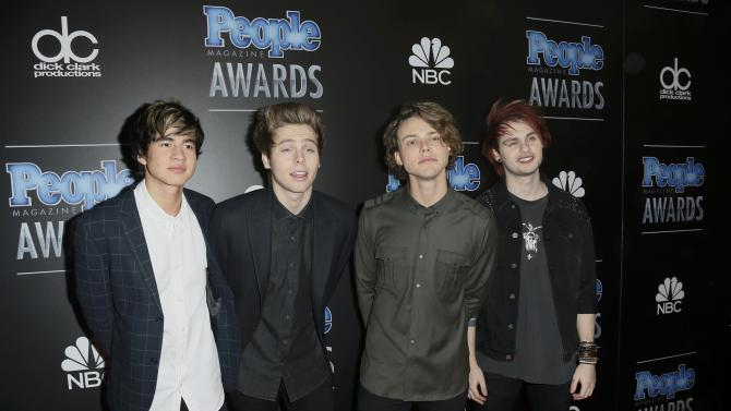 The group 5 Seconds of Summer arrives at the People Magazine Awards in Beverly Hills