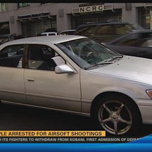 Three arrested for airsoft shooting  5:00 p.m.