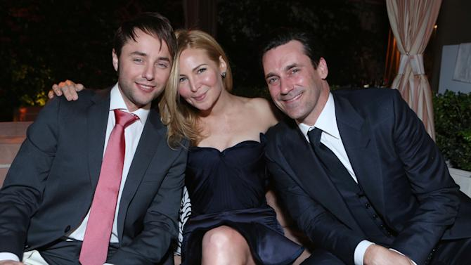 IMAGE DISTRIBUTED FOR AMC - From left, Vincent Kartheiser, Jennifer Westfeldt and Jon Hamm attend the after party for the AMC Season 6 Premiere of Mad Men , on Wednesday, March, 20, 2013 in Los Angeles. (Photo by Alexandra Wyman/Invision for AMC/AP Images)