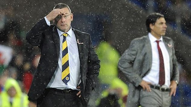 Craig Levein watches during Scotland&#39;s 2-1 defeat to Wales