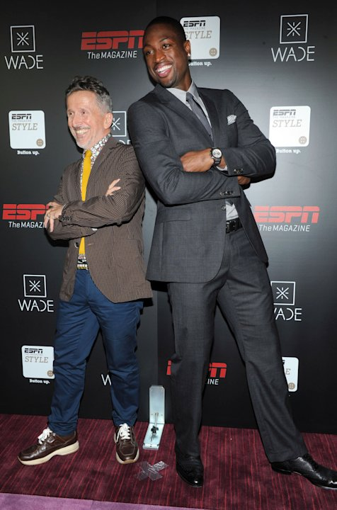 IMAGE DISTRIBUTED FOR ESPN THE MAGAZINE - Simon Doonan, left, creative ambassador at-large Barneys, and NBA champion Dwyane Wade, kick-off Fashion Week at ESPN The Magazin'ís 'Style and Sports' panel,