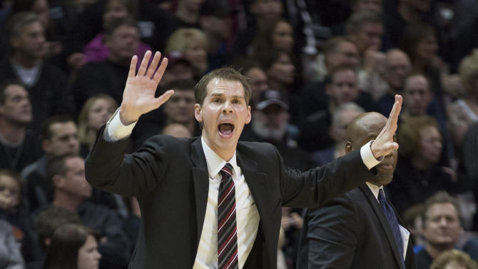 Missouri State coach Paul Lusk yells out a play during the first half of an NCAA college basketball game against Creighton on Friday, Jan. 11, 2013, in Springfield, Mo. (AP Photo/David Welker)
