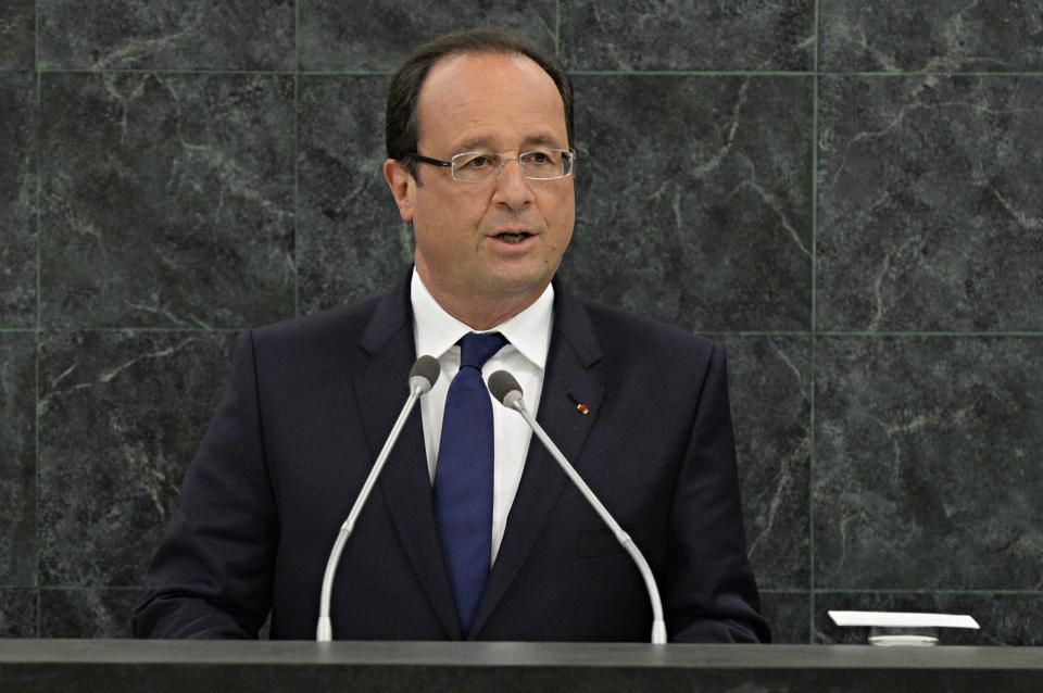 French President François Hollande speaks during his address to the 68th Session of the United Nations General Assembly on Tuesday Sept. 24, 2013 at U.N. headquarters. (AP Photo/Andrew Burton,Pool)