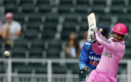 South Africa's de Kock plays India's Kumar delivery during their first ODI in Johannesburg