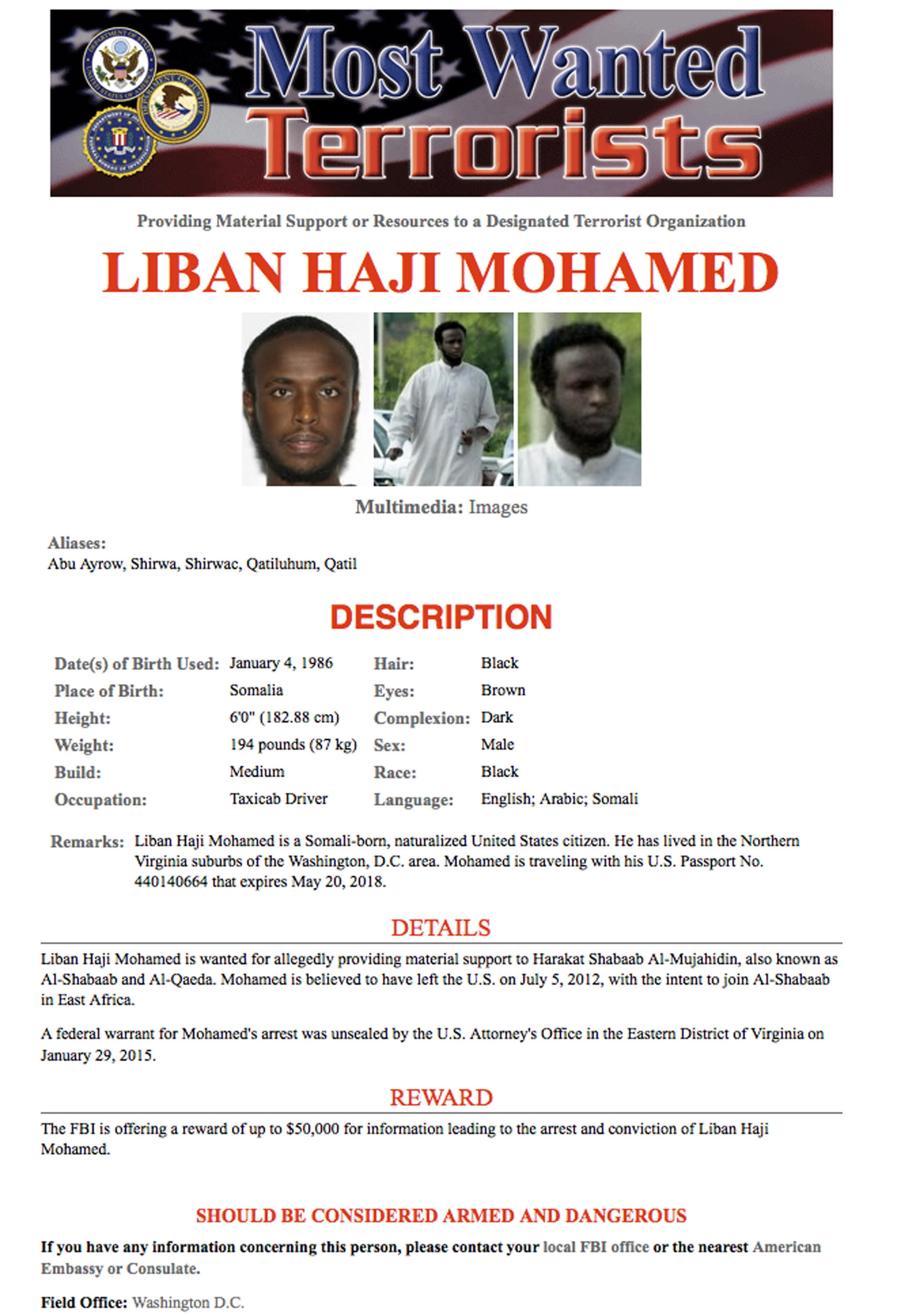 Official: Man on terror most-wanted list detained in Somalia