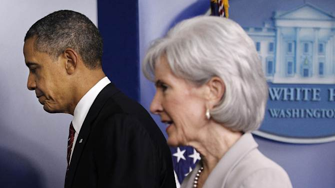 FILE - In this Feb. 10, 2012, file photo, President Barack Obama and Health and Human Services  Secretary Kathleen Sebelius leave the Brady Press Briefing Room of the White House in Washington, after the president announced the revamp of his contraception policy requiring religious institutions to fully pay for birth control. The legal challenges over religious freedom and the birth control coverage requirement in Obama's health care overhaul appear to be moving toward the U.S. Supreme Court. Dozens of lawsuits have been filed by faith-affiliated charities, hospitals and universities, against the mandate which requires employers to provide insurance that covers contraception for free.  However, many for-profit business owners are also suing, claiming a violation of their religious beliefs. The religious lawsuits have largely stalled, as the Department of Health and Human Services tries to develop an accommodation for faith groups. However, no such offer will be made to individual business owners. And their lawsuits are yielding conflicting rulings in appeals courts around the country. (AP Photo/Pablo Martinez Monsivais, File)