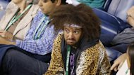 Redfoo at the women's match between girlfriend Victoria Azarenka and Kirsten Flipkens at the BNP Paribas Open (AFP)