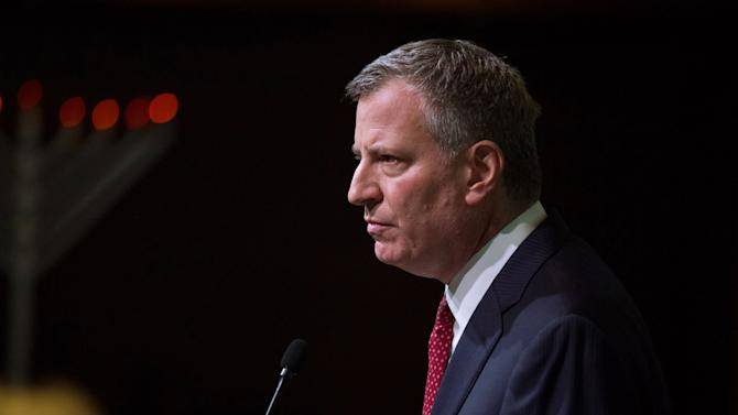 New York City Mayor Bill de Blasio speaks during the Police Athletic League December Luncheon in Manhattan