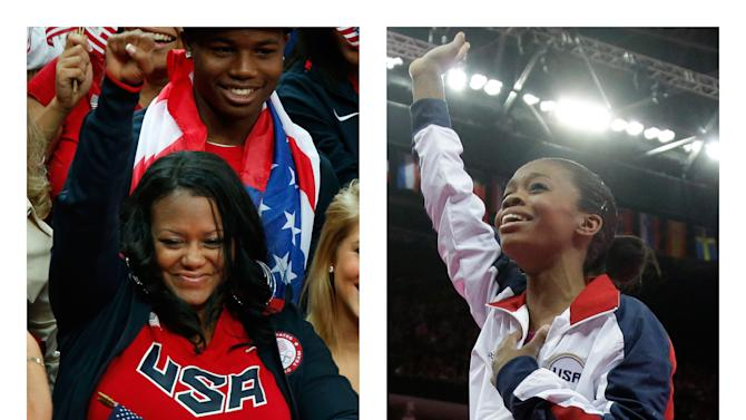 This combination of Thursday, Aug. 2, 2012 photos shows Natalie Hawkins, left, and her daughter, U.S. gymnast Gabrielle Douglas at the 2012 Summer Olympics in London. Documents filed in January 2012 in the Eastern District of Virginia show Natalie Hawkins filed for Chapter 13 bankruptcy, which allows a person to reorganize their finances and pay down debt over several years. (AP Photo/Matt Dunham, Julie Jacobson)
