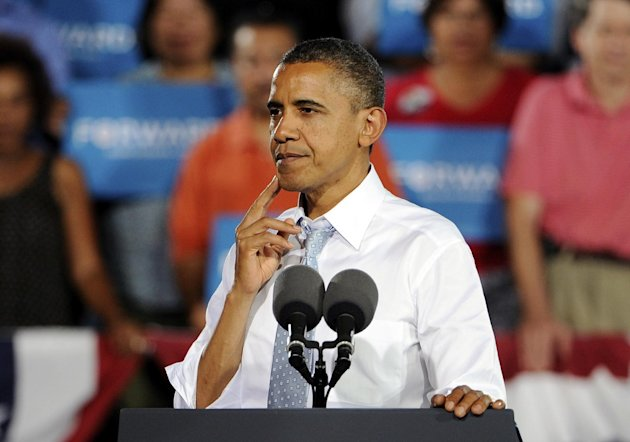 President Barack Obama speaks during a campaign event at Desert Pines High School on Sunday, Sept. 30, 2012, in Las Vegas. (AP Photo/David Becker)